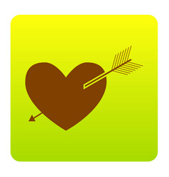 arrow heart sign brown icon at green vector image