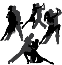 Couple dancing tango silhouette set vector image vector image