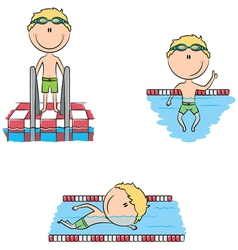 Cute swimmer boys in the pool vector image vector image