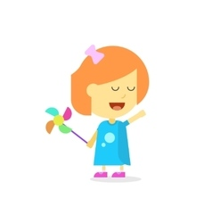 Happy little girl cartoon style isolated flat vector image vector image