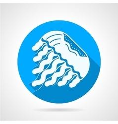 Jellyfish flat blue round icon vector image
