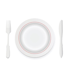 knife fork and plate vector image vector image