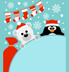 New year background card with penguin and bear vector