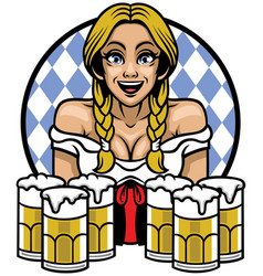 oktoberfest girl with bunch of glass of beers vector image vector image