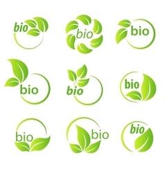 Set of green leaves bio symbol design elements vector image vector image