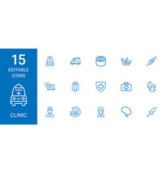 15 clinic icons vector image