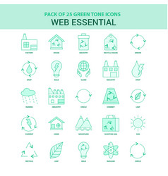 25 green web essential icon set vector