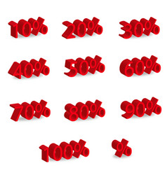 3d red numbers set with percentage - sale symbol vector