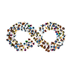 A group of people in a shape of infinity symbol on vector