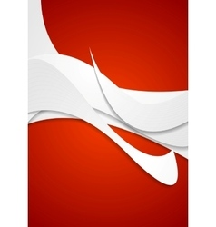 Abstract grey wavy pattern on red background vector