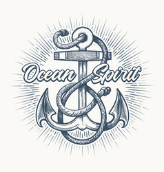Anchor with ropes nautical tattoo emblem vector
