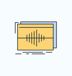 Audio frequency hertz sequence wave flat icon vector
