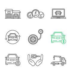 auto workshop linear icons set vector image