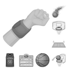 basketball and attributes monochrome icons in set vector image