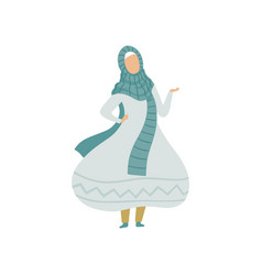 beautiful muslim woman in light blue dress and vector image