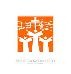 Believers in jesus sing a song glorification vector
