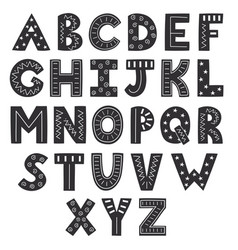 black and white alphabet in scandinavian vector image