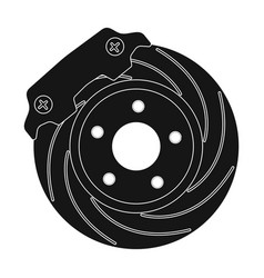 brake disk single icon in black style for design vector image