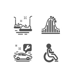 Bumper cars car service and roller coaster icons vector