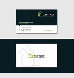 Business card template with green mansion vector