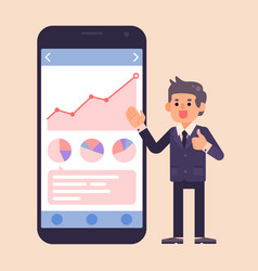 Business man doing thumbs up with mobile phone vector