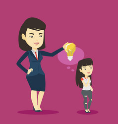 Business woman giving idea bulb to her partner vector