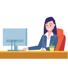 Business woman sit on desk and working on computer vector