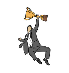 businessman jump with golden trophy vector image