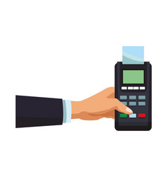 Businessman with credit card reader vector