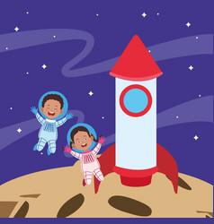 Cartoon astronaut kids and space rocket vector