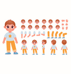 Cartoon boy character constructor with body parts vector