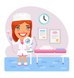 cartoon female doctor beautician in the vector image