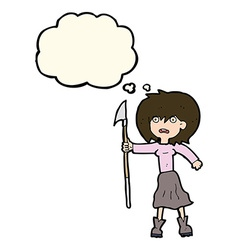 Cartoon woman with harpoon with thought bubble vector