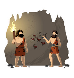 Cavemen drawing cave painting vector
