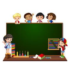 children with blackboard banner vector image