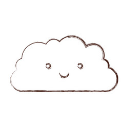 cloud kawaii caricature in blurred brown color vector image
