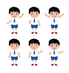 collection little boys in school uniform vector image