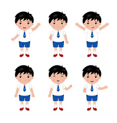 Collection of little boys in school uniform vector