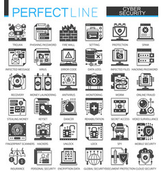 cyber security classic black mini concept symbols vector image
