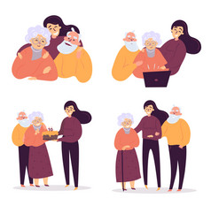 Daughter helps her old parents birthday care vector