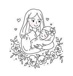 doodle kawaii style cute woman vector image