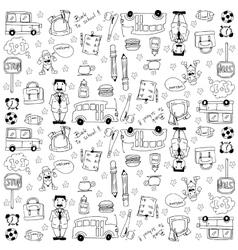 Doodles school theme hand draw vector