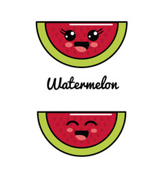 Emblem kawaii happy and scared watermelon icon vector