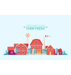 Farm landscape flat organic food fresh vector