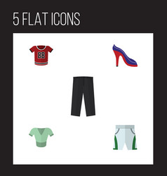 flat garment set of trunks cloth casual heeled vector image