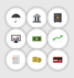 Flat icon finance set of greenback payment vector