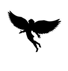 Flying man icarus silhouette mythology symbol vector