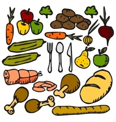 food vegetable fruit a flat color icon Doodle vector image
