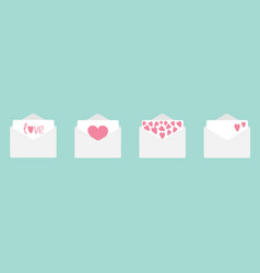 four envelope with hearts set line happy vector image