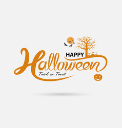 full moon amp big tree with halloween banner vector image